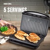 5-Serving Classic Plate Electric Indoor Grill and Panini Press, Black - GRS075B