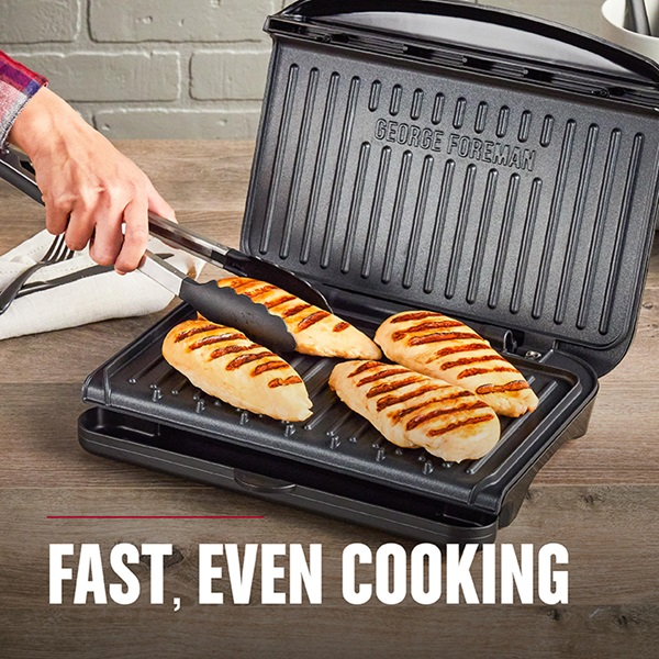 Fast, even cooking with the 5-Serving Classic Plate Electric Indoor Grill and Panini Press, Black - GRS075B