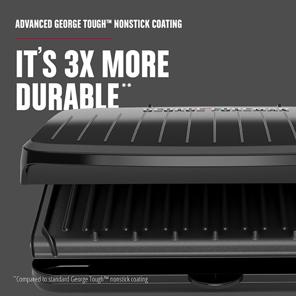 5-Serving Classic Plate Electric Indoor Grill and Panini Press surface is 3X more durable - GRS075B