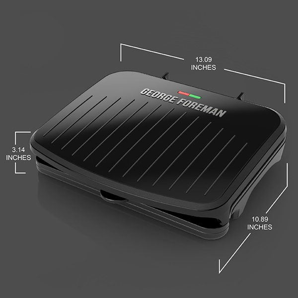 5-Serving Classic Plate Electric Indoor Grill and Panini Press is 13.09 inches long, 10.89 inches deep, and 3.14 inches tall - GRS075B