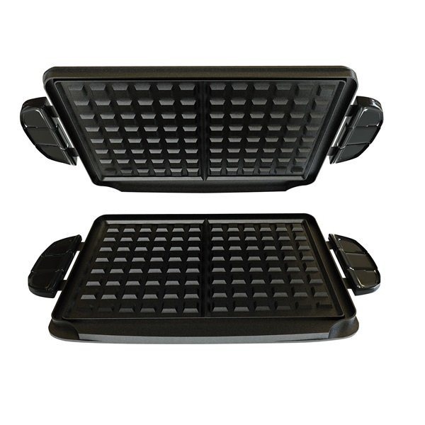 Grill & broil with waffle plates & ceramic griddle plate purple.