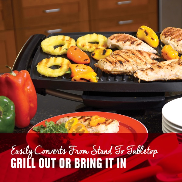 Easily converts from stand to tabletop. Grill out or bring it in.