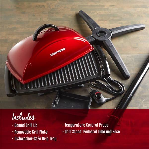 Includes: domed grill lid, removable grill plate, dishwasher safe drip tray, temperature control probe, grill stand: pedistal tube and base.