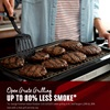 Open grate grilling. Up to 80 percent less smoke. vs george foreman indoor/outdoor grill (GF0201) when grilling quarter pound beef burgers (20 percent fat, 80 percent lean) with a clean grill and drip tray
