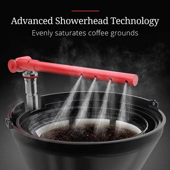 Advanced Showerhead Technology - Evenly saturates coffee grounds