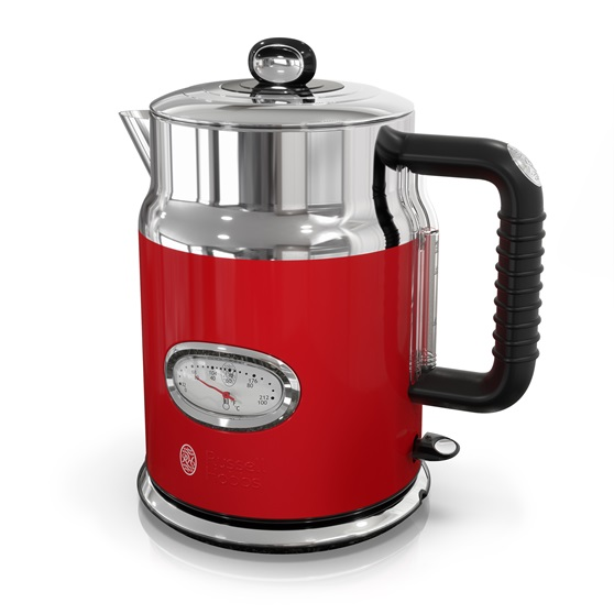 retro style electric kettle red stainless steel russell hobbs