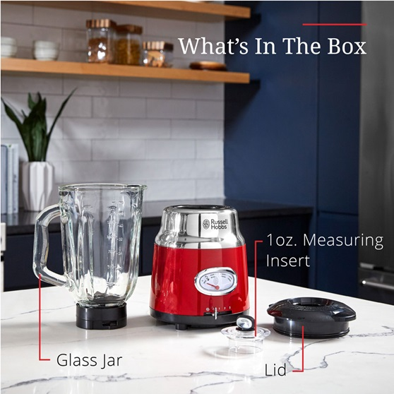 What's in the box - Glass jar, lid and 1 oz. measuring insert