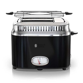 Retro Style 2-Slice Toaster | Black & Stainless Steel