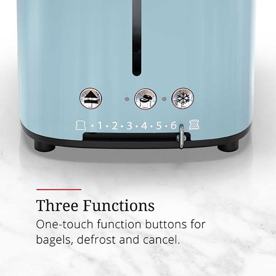 Three Functions - One touch function buttons for bagels, defrost and cancel