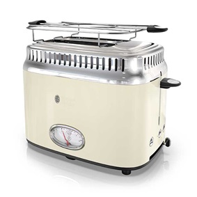 Retro Style 2-Slice Toaster | Cream & Stainless Steel