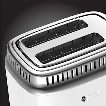 Extra Wide Slots | Retro Style 2-Slice Toaster | White & Stainless Steel