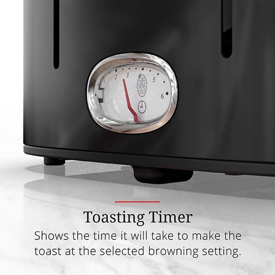 Toasting Timer shows the time it will take to make the toast at the selected browning setting | TR9250BKR