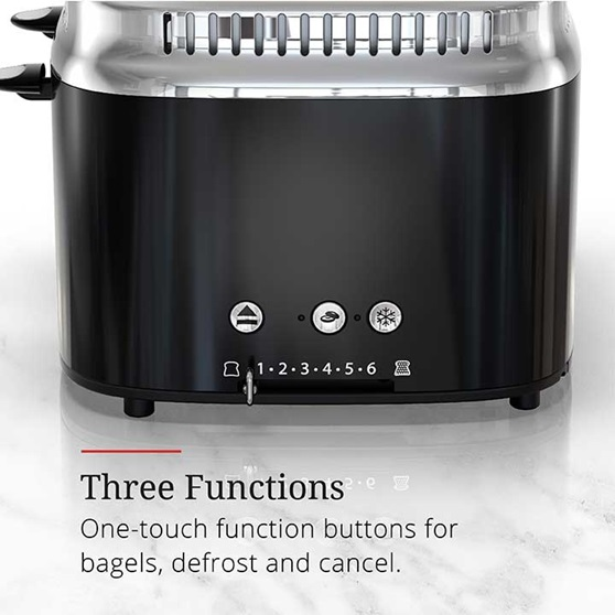 Three functions, one touch function buttons for bagels, defrost and cancel | TR9250BKR