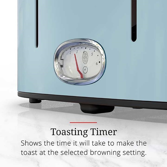 Toasting Timer - Shows the time it will take to make the toast at the selected browning setting