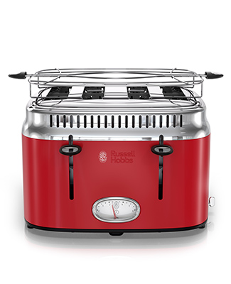 red retro style 4 slice toaster russell hobbs tr9250rdr