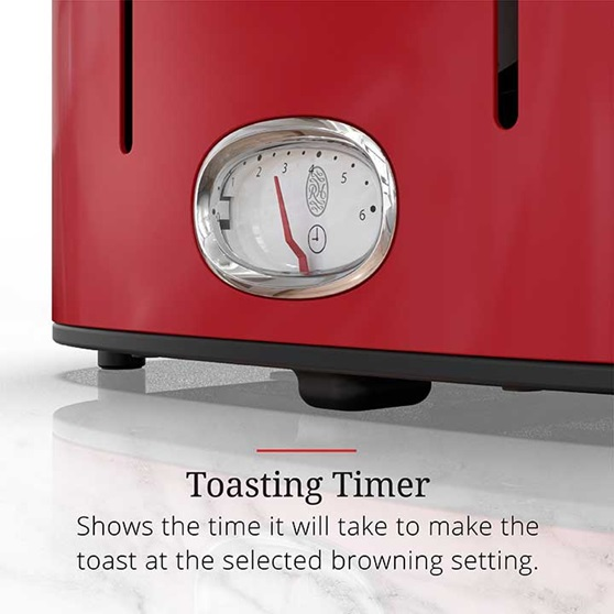 Toasting Timer shows the time it will take to make the toast at the selected browning setting | TR9250RDR