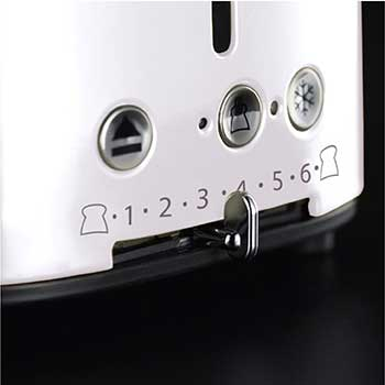 white retro 4 slice toaster with variable browning control