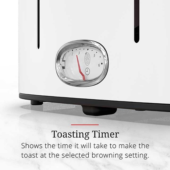 Toasting Timer shows the time it will take to make the toast at the selected browning setting | TR9250WTR