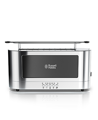 russell hobbs trl9300bkr black glass accent 2 slice toaster