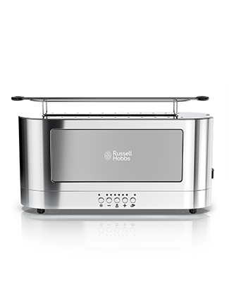russell hobbs trl9300gyr silver glass accent 2 slice toaster